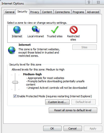Select the Security tab and then click on Trusted Sites. Click on the Sites button. Enter https://kronos.dartmouth.