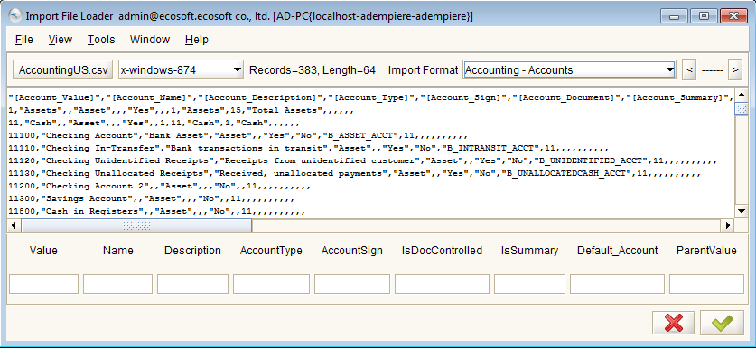 11 Re-Import Chart of Account During the Initial Client Setup, the system imported only 71 default accounts.