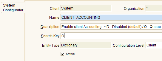 25 Setup Account Posting Engine (as Manual) Login to ADempiere as System Username: System Password: System Role: System Administrator Client: System Open System Configurator window.