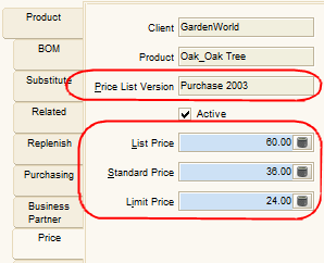 30 Explore Price List and Product View Price List Info Open Price List window. In Price List Tab, you will see there are different type of Price List, i.e., Purchase Standard (sales) With Price List = Purchase being selected, click on Price List Version tab.