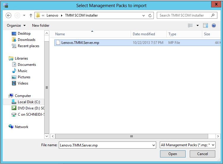 Figure 3 - File Navigation You will see a message saying, Management Pack is ready to import. Click Install. The Management Server will import the Management Pack, and then you can close the window.