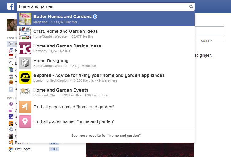Enter the interest in the search bar of Facebook to find