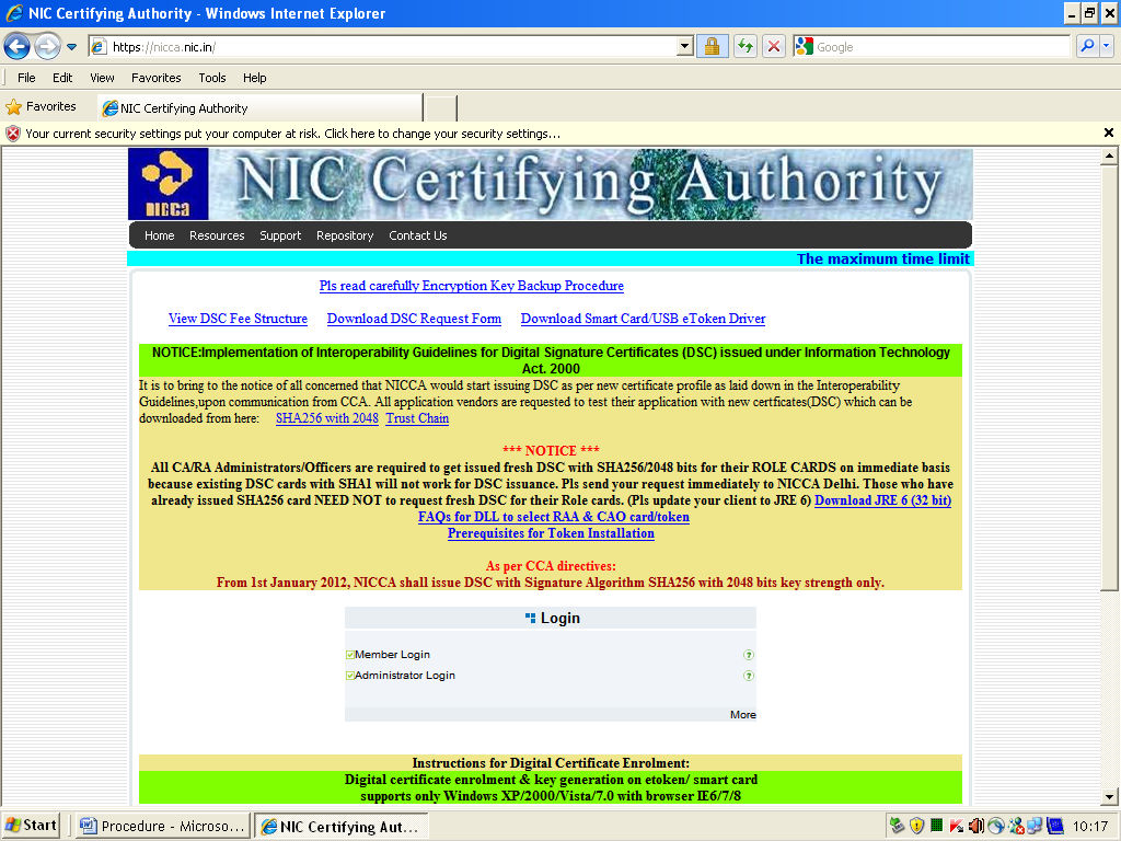 Open the Browser and go to http://nicca.nic.in C.