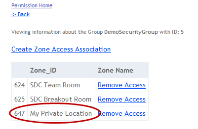 If you choose to view the list of associated zones, you will now see your new location added: A note about the Offline Zone In 2.