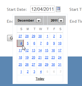 This will display a calendar that allows you to specify a date with: You can do the same thing with the End Date if you wish it to not be today s date.