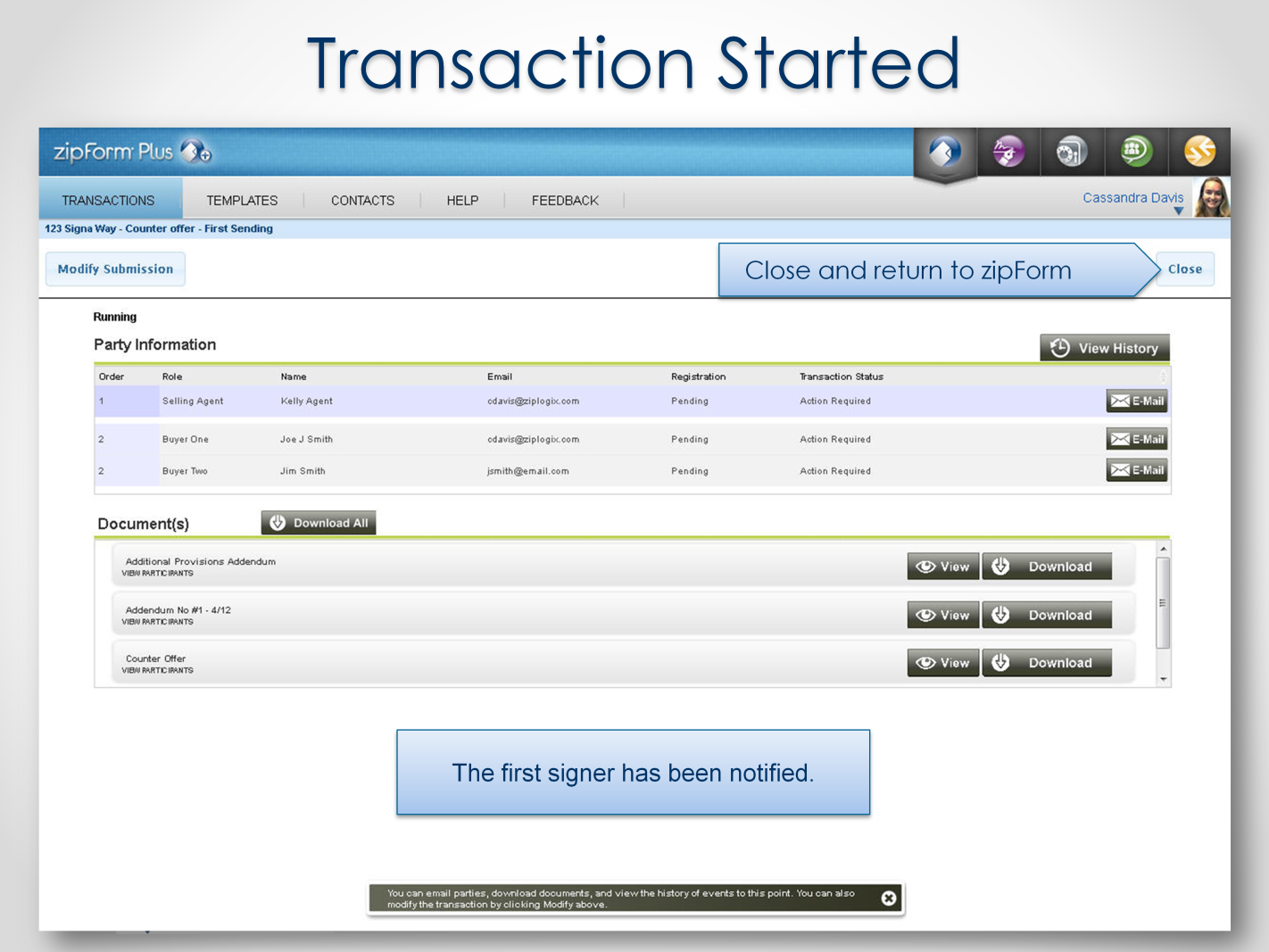 This same Status page can be used during the signing process to check the status of signatures.