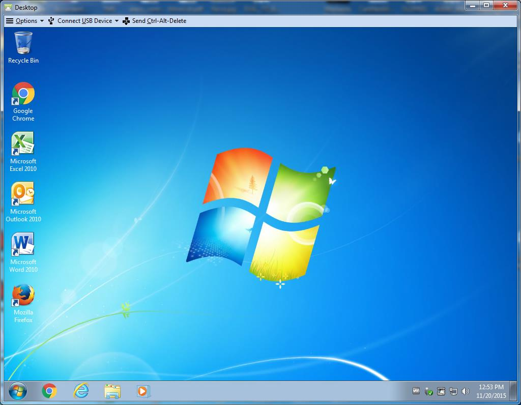 When completed you will be presented with a Windows desktop similar to the one you will be used to seeing on