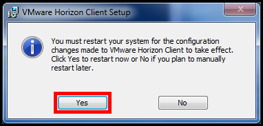10. The Completed the VMware Horizon Client Setup Wizard dialog box will show when installation is complete. Click the Finish button (See Figure 14).