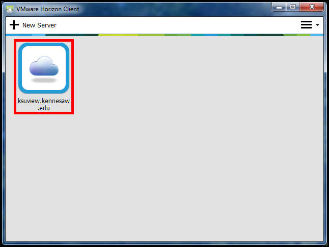 Login Instructions 1. Locate the VMware Horizon Client icon on your desktop and double-click to open (See Figure 16). Figure 16 - VMware Horizon Client. 2.