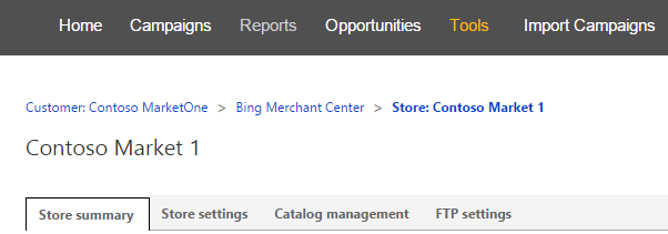 Getting started // overview of Bing Merchant Center 2. Create store 3.