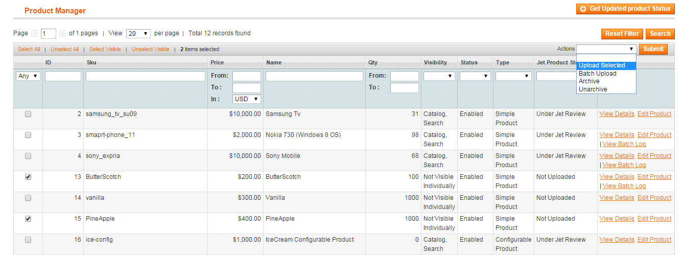 24 i. Upload product Upload simple product This panel will list all the products assigned in jet categories. For uploading the product on jet.