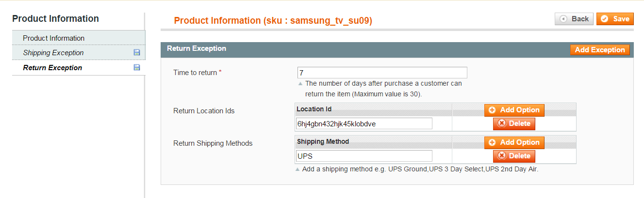 36 Shipping Exception related details can be entered over here. vi.