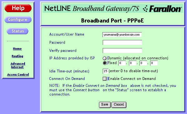 NetLINE configuration 5 configuring Using a fixed IP Address Using a fixed IP Address with PPPoE the 1. Open the Configuration page of the web utility.