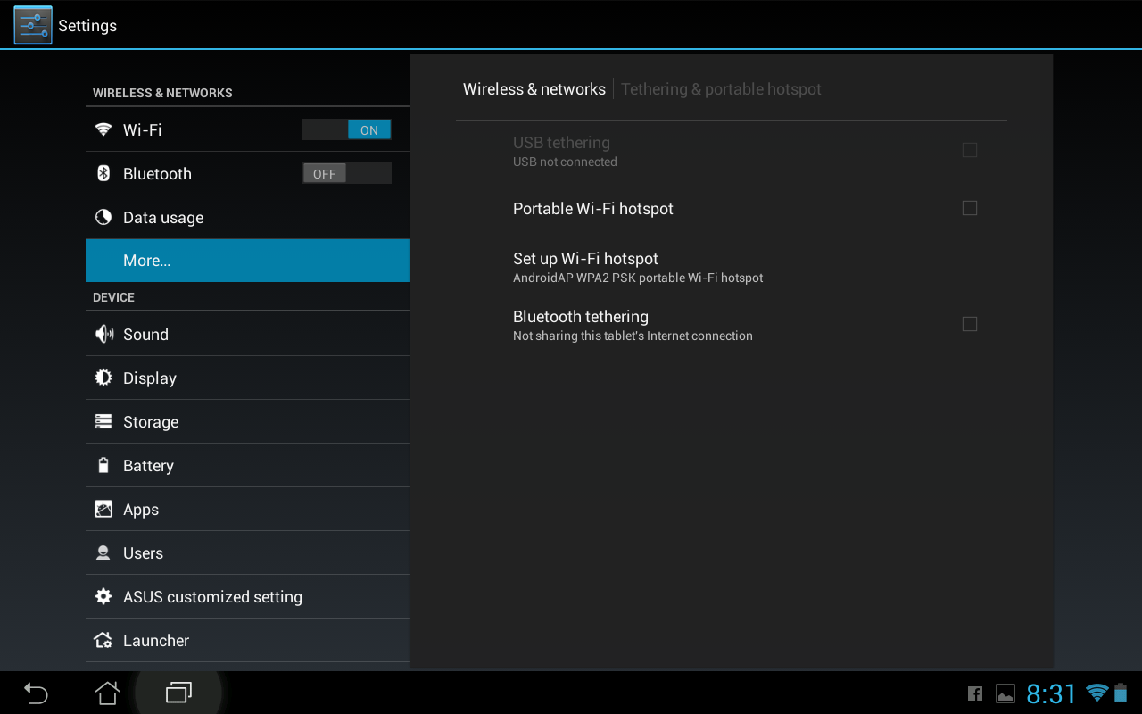 You can also create a Wi-Fi hot spot for sharing Internet access through devices such as tablets. Below you can see an Android tablet configuration option for creating a Wi-Fi hot spot.