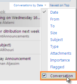 Conversation View By default, Outlook Web App uses Conversation view in all e-mail folders with the Reading Pane turned on.