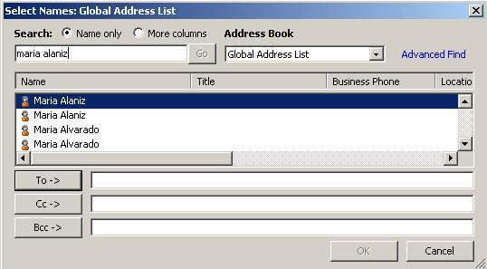 Additional Help Addressing your Email (From the Main Outlook Window Mail View) Type the email address or name (first last) in the To field. Text Field Or, using the address book 1.