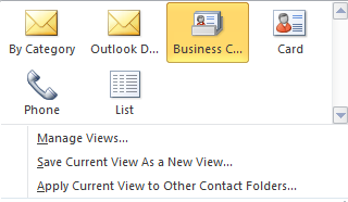 Personal Contacts List (From the Main Outlook Window Contacts View) Add Names to Your Personal Contacts List You can select names from the Global Address List (see page 14) by right-clicking on the