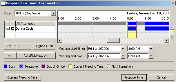 Or. If you click on Propose New Time, the following window will appear: Select a new time in the graphical window (use the horizontal scroll bar if necessary) Or Use the start and end time field to