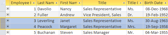 Data selection and editing Selecting data in tables Areas that have been selected are highlighted in yellow.