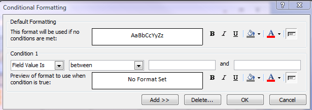 Applying conditional formatting Changing the appearance of your form data by applying formats (or AutoFormats) makes your data easier to read.
