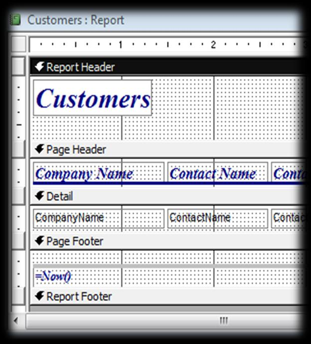 What are the different sections of a report? A report is divided into many sections: The Report header: In this section you place a control which must appear only at the beginning of the report.