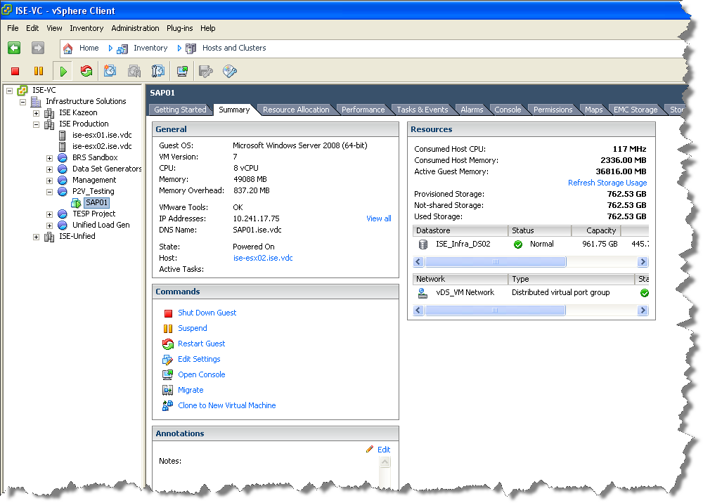 The new virtual environment You can view the new SAP virtual machine from the VMware vcenter
