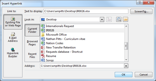 Step 4: Right-click within the File Location data box.