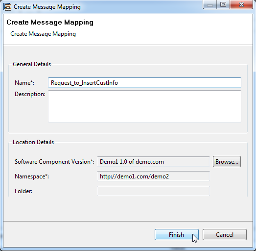 Create Message Mappings 32 Create a mapping to insert a row into a table.
