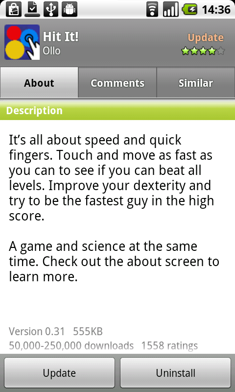 2 figure 2: The description of Hit It! in the Android Market.