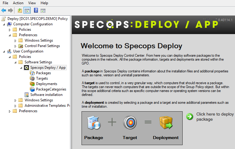 Specops Deploy GPMC snap-in You can access the Specops Deploy GPMC snap-in from the Group Policy Management Editor. 1. Open the GPMC and navigate to the GPO you want to the GPO you want to edit. 2.