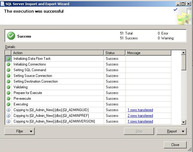 FIGURE 11: CHECK IMPORT STATUS FOR ERRORS Convert the Process Database Use Data Transformation Services to Import Data from Sampledb80.qia to QI_Process_New. Change the existing.qia extension to.mdb.