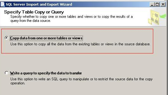 FIGURE 4: SELECT QI_ADMIN_NEW AS DESTINATION DATABASE 4. Select Copy Data from one or more tables or views, and then click Next (Figure 5 below).