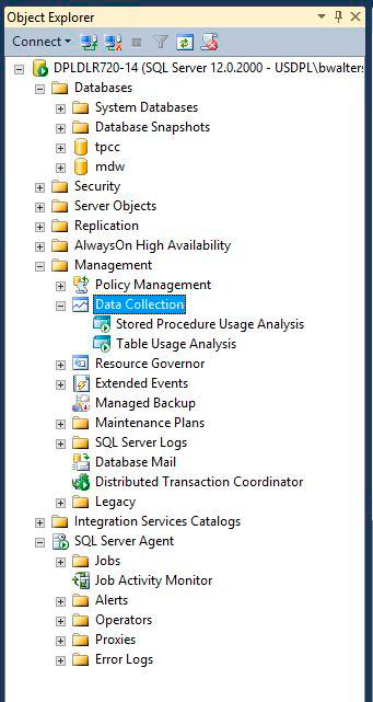 10. In Object Explorer navigate to Data Collection, right click Stored Procedure