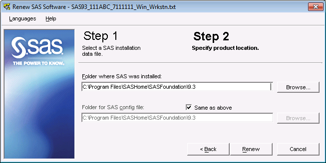 Note: Do not attempt to renew your SAS 9.3 license on a personal installation of SAS on Windows Vista or Windows 7 with the same method used for other Windows platforms.