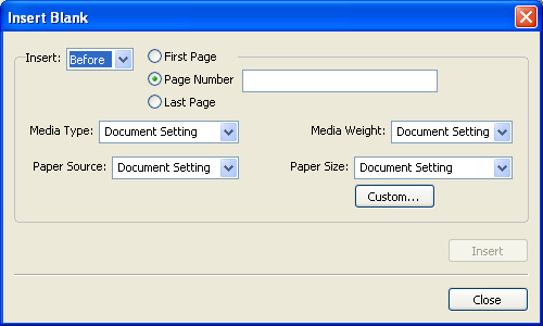 COMMAND WORKSTATION, WINDOWS EDITION 27 TO DEFINE MEDIA FOR SPECIFIC PAGES 1 In the Mixed Media dialog box, click New Page Range. The Page/Page Range Media dialog box appears.
