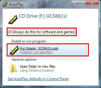 Step 3 An AutoPlay window may popup.