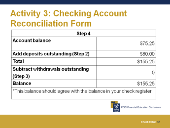 Activity 3: Complete the Checking Account Reconciliation Form In this activity, you are going to use a checking account reconciliation form to reconcile your check register with your monthly account