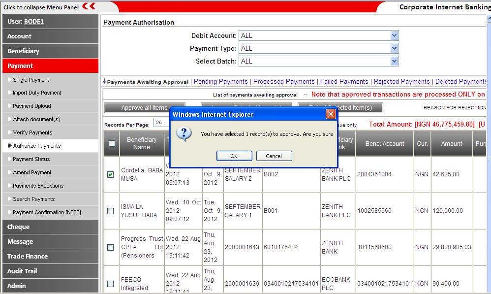 6. VERIFY/AUTHORIZE PAYMENTS: Fig (6a-b) This feature enables you check payment instructions and approve the payments.