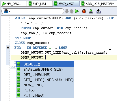 Figure 6: PL/SQL Editor displaying Code Completion When using the Code Editor to edit PL/SQL code, you can Compile or Compile for Debug.