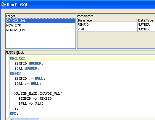Figure 7: Dialog Displaying Arguments for Procedures When you invoke the Run PL/SQL dialog, code is automatically generated to call the target PL/SQL program unit.