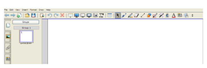 SMART Notebook software toolbar 1. There are two toolbars. The first one is a floating toolbar. 2. The second tool bar provides access to a number of tools to help you work with your Notebook file.