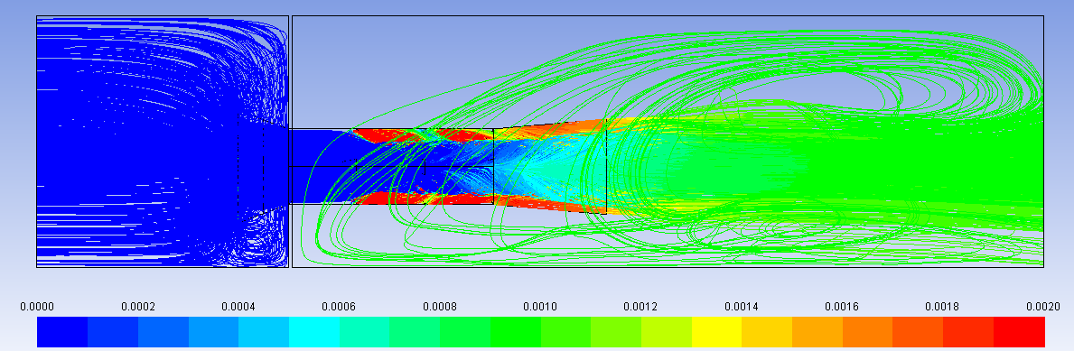 Figure 7- Pathlines Colored by Volume Fraction of Injected