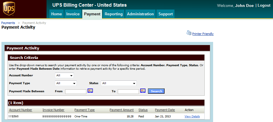 Payment (cont.) Payment activity You can view One-Time or Automatic Payments on the Payment Activity tab.