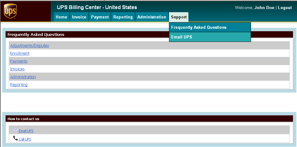 Support You can obtain support from the Support tab within the UPS Billing Center at ups.