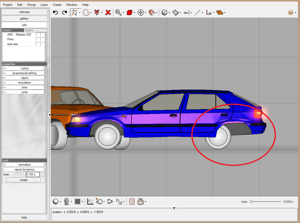 Touch-up the Vehicle Mesh Now that the vehicle wheels have been repositioned to match the Autostats data, the Pinto s vehicle mesh needs to be touched up to correct the awkward relative