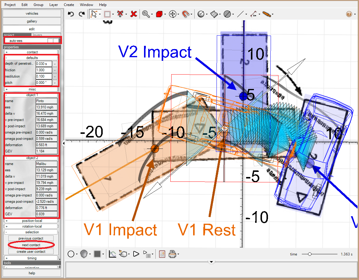Collision Data Using the methods shown in reference (8), access the first impact collision data by left-clicking on auto-ees and then selecting next contact in the left control panel.