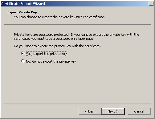 Figure 5: Certificate Export Wizard In the first screen, select Yes for whether to export the private key (figure 6).