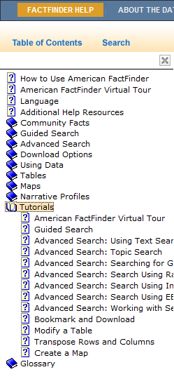 Assistance with American FactFinder Click Help (upper right) Online User Guide Virtual Tour Community Facts