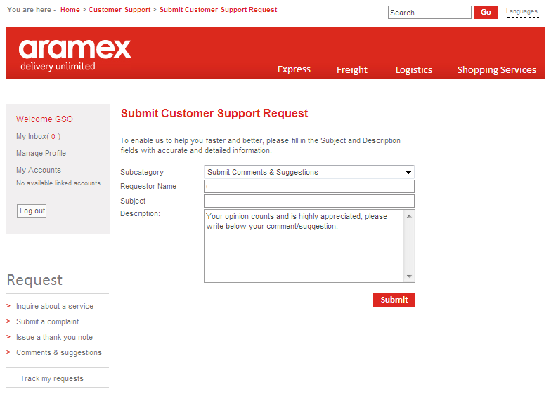 2. Comments and Suggestions Aramex always welcomes your suggestions and comments, so feel free to submit your comments and suggestions, or simply share any ideas or service remarks so we can serve