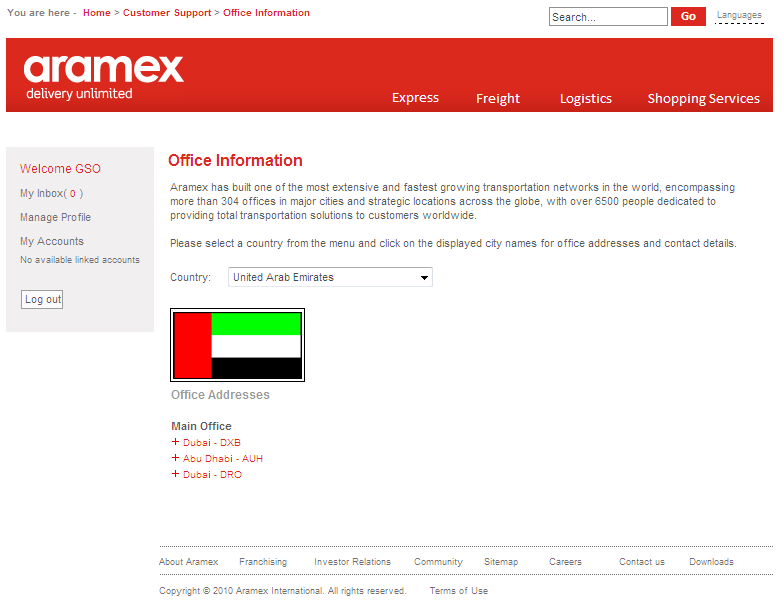 4. Locate Office Use this feature to find the addresses of Aramex offices around the world. 5.